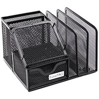 "Plemo Mesh Desk Organizer Office Supplies Caddy with 6 Compartments: Drawer, Pen Holder, Memo Holder & File Holder, 6.42"" x 4.13"" x 5.71"""