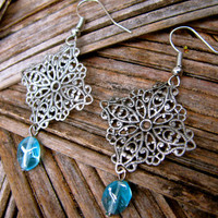 Silver Filigree Gypsy Turquoise Blue Earrings Boho Dainty Earrings Floral Antique Vintage Earrings