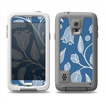 The White and Blue Vector Branches Samsung Galaxy S5 LifeProof Fre Case Skin Set