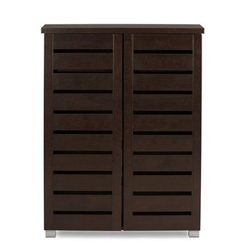 Baxton Studio Adalwin Modern and Contemporary 2-Door Dark Brown Wooden Entryway Shoes Storage Cabinet  Set of 1