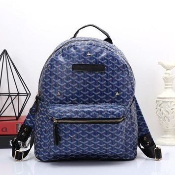 DCCKJ1A Goyard Women Leather Bookbag Shoulder Bag Handbag Backpack Blue