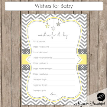 Wishes for Baby Star in Yellow and Gray -  Twinkle Twinkle Little Star Baby Shower - Baby Well Wishes with Stars - INSTANT Star-Y