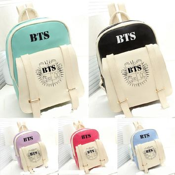 kpop BTS Bangtan Boys group The Same PU leathern Fashion Schoolbag Backpack Satchel bag