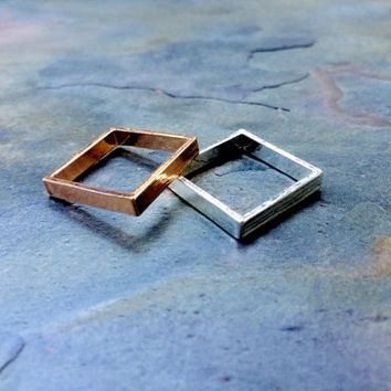 Square Rings- Brass- Sterling Silver Plated- Rose Gold Plated