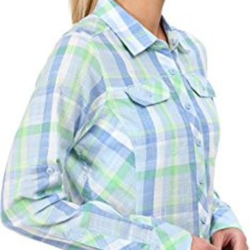 Columbia Women's Camp Henry Long Sleeve Shirt, Chameleon Green Plaid, Small