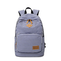 Korean STYLE Canvas stripe printing Backpack Women School Bags for Teenage Girls Cute Bookbags Vintage Laptop Backpacks Female