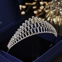 European Brides Silver Full Zircon Tiaras Crown Zirconia Hairbands Cosplay