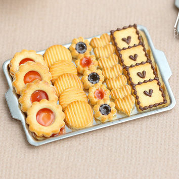 Chocolate, Jam and Plain Butter Cookies on Metal Baking Sheet - Five Varieties - Miniature Food in 12th Scale for Dollhouse