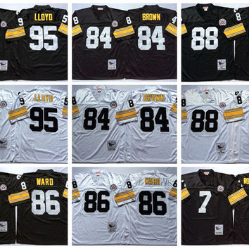 Throwback Football Jerseys 95 Greg Lloyd Jerseys Mens 88 Lynn Swann 86 Hines Ward 7 Ben Roethlisberger 84 Antonio Brown Retro Black White