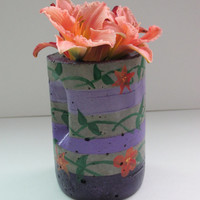 Concrete painted flower planter,  vase, patio art, Home decor, Purple, Green and Orange Succulent planter