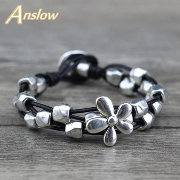 Anslow New Design Lucky Flowers Antique Silver Plated Female Women Men Leather Bracelet Mothers' Day Black Friday  LOW0654LB