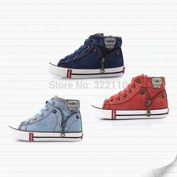 Kids Canvas Sneakers Board shoes Baby boys girls Sports shoes Fashion Denim Footwear baby rubber sole Running shoes