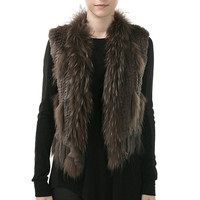 Jasmine brown ribbed fur vest