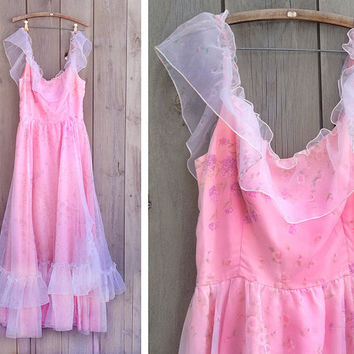 Vintage dress | 1970s pink frilly evening gown princess prom dress