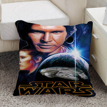 star wars han solo and princess leia Pillow case size 16 x 16, 18 x 18, 16 x 24, 20 x 30, 20 x 26 One side and Two side