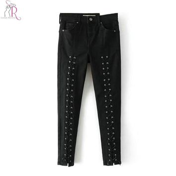 Dark Gray Lace Up Lattice Front Pencil Jeans Women Mid Waist Silm Skinny Pockets Back Autumn Fashion Design Denim Pant