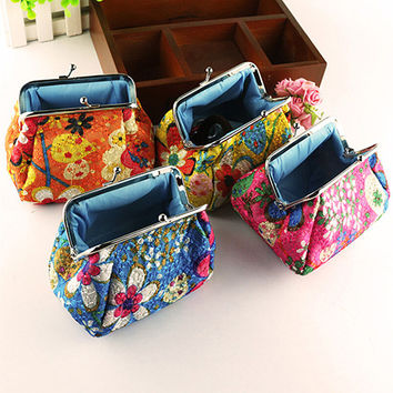 2015 Women Fashion Cute Chic Embroidered Case Wallet Card Keys Pouch Coin Purse 6O31