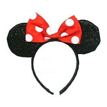 Red Minnie Mouse Sparkled Ears Headband Costume Accessory