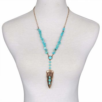 Native American Style Arrowhead Turquoise Necklace
