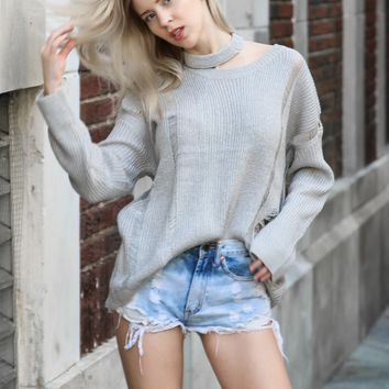 Dazed & Distressed Cutout Sweater