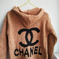 Chanel Hooded Sweater Knit Cardigan Jacket Coat Khaki