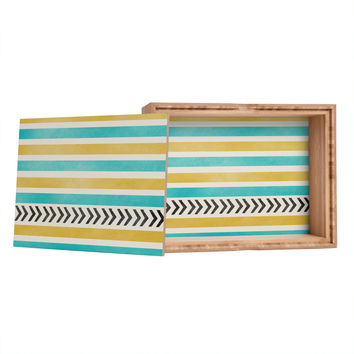 Allyson Johnson Green And Blue Stripes And Arrows Jewelry Box