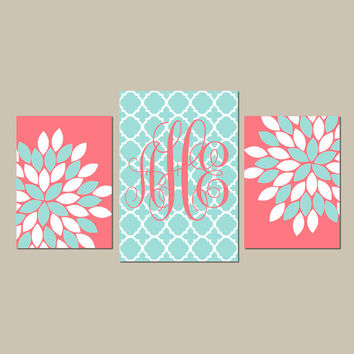 Coral Aqua Nursery Wall Art CANVAS or Prints Monogram Wall Art Baby Girl Nursery Decor Wall Art Girl Bedroom Artwork Girl Pictures Set of 3