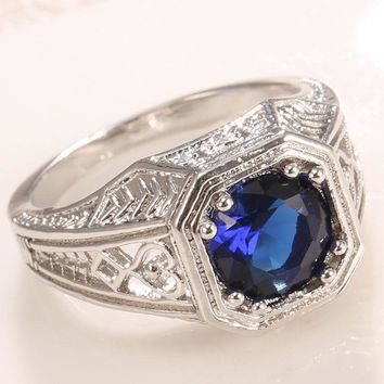 Women or Men  .925 Silver- Blue Tanzanite-Ring-Beautiful Design - SIZE 9
