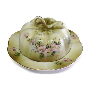 Vintage Round Nippon Butter Dish, Handpainted Floral Butter Dish, Green, Pink, White