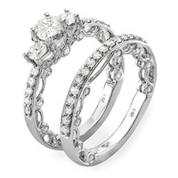 1.65 Carat (ctw) 14K White Gold Round Diamond Ladies Vintage Engagement Ring Band Set (Size 7)
