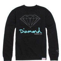 Diamond Supply Co HD Script Logo Crew Fleece - Mens Hoodie - Black