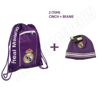 Real Madrid Cinch + Beanie Purple New Colors Bag Sack Soccer Book Backpack
