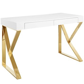 Adjacent Desk High Gloss White / Gold