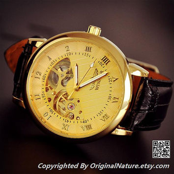 Men's Gold Watch Steampunk Leather - Boyfriend Birthday Gifts (ET0107-GOLD)