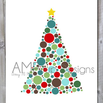 Polka Dot Christmas Tree Instant Download