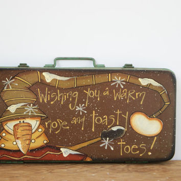 Vintage Metal Toolbox ~ Rustic Toolbox Christmas Decor ~ Hand Painted Green Vintage Toolbox ~ Wishing You A Warm Nose And Toasty Toes!