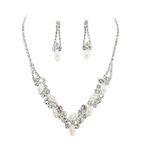 Perfect Bridal Look White Pearl Bridal Necklace Set With Crystal Detail Bling Prom Earring Set CC6