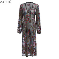 ZAFUL Woman Floral Embroidered Dress Sexy V Neck Mesh Sheer Hollow Out Long Sleeve Club Party Beach Long Maxi Dress Female Vesti