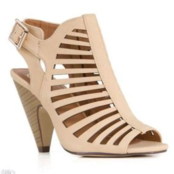 My Delicious Shoes Shaky Laser Cut Heels SHAKY-S-BEIGE