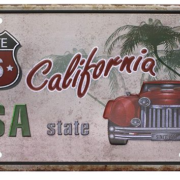 USA State California ROUTE 66 Metal Tin Sign, Vintage Plaque License Plate Home Wall Decor ,6x12 inch