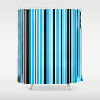 Candy Stripe Blue Shower Curtain by Alice Gosling