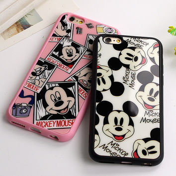 Sweetheart Mickey Minnie Mouse black Silicone Phone Cover Mirror Case For Apple iPhone 7 6 6S 4.7'' 6 7 Plus 5.5'' 5 5S SE Capa