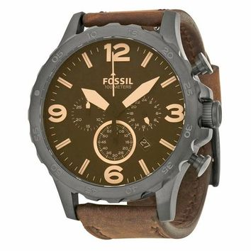 Fossil Mens JR1487 Chronograph Brown Leather Strap Watch