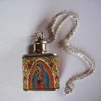 Virgin of Guadalupe flask necklace retro vintage Mexico religious kitsch Anima Sola