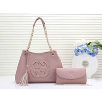 GUCCI Newest Popular Women Leather Handbag Shoulder Bag Crossbody Satchel Wallet Purse Two Piece Set Pink