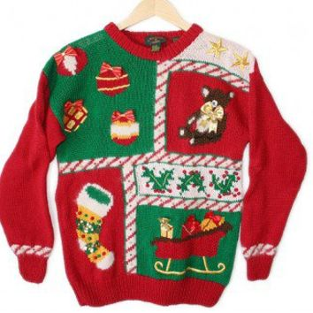 Vintage 90s Packers Stocking Tacky Ugly Christmas Sweater Women's Size Medium (M) $25 - The Ugly Sweater Shop