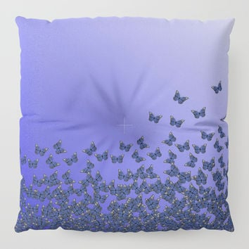 Butterflies, butterfly Horde ;) flying insects themed pattern, blue violet and purple, vector design Floor Pillow by Casemiro Arts - Peter Reiss