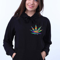 Addicted Marijuana Pocket Psychedelic Weed Leaf Stoner Hippie Sweatshirt Hoodie Jumper