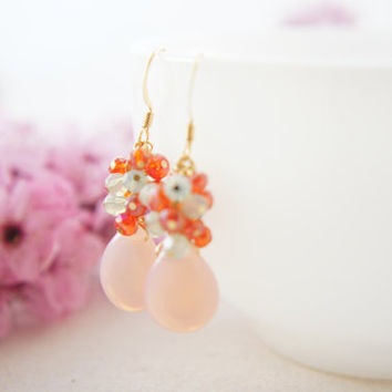 Pink glass dangling earrings with orange red and ming green glass earrings, wedding, party, spring, bridesmaid