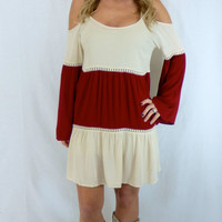Southern Stripes Dress: burgundy